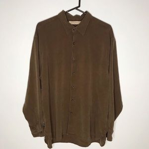 Tommy Bahama brown button up silk shirt